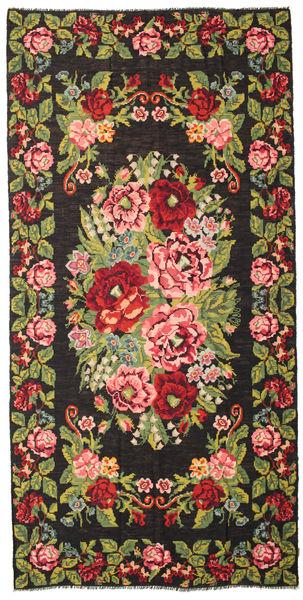 Kilim Rose Moldavia Szőnyeg 210X429 Keleti Kézi Szövésű Fekete/Sötétbarna (Gyapjú, Moldova)