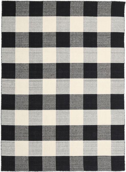 Check Kilim - Fekete/White Szőnyeg 240X340 Modern Kézi Szövésű Fekete/Világosszürke/Sötétszürke (Gyapjú, India)