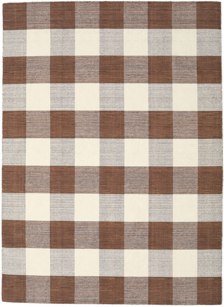 Check Kilim - Barna/White Szőnyeg 210X290 Modern Kézi Szövésű Világosszürke/Bézs (Gyapjú, India)