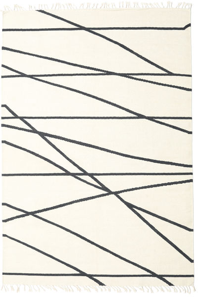 Cross Lines - Off White/Fekete Szőnyeg 200X300 Modern Kézi Szövésű Bézs/Bézs/Krém (Gyapjú, India)