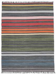 Rainbow Stripe - Szürke Szőnyeg 250X300 Modern Kézi Szövésű Sötétszürke/Olívazöld Nagy (Pamut, India)