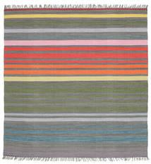 Rainbow Stripe - Szürke Szőnyeg 200X200 Modern Kézi Szövésű Szögletes Sötétszürke/Világosszürke (Pamut, India)