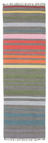 Rainbow Stripe - Szürke Szőnyeg 80X250 Modern Kézi Szövésű (Pamut, India)