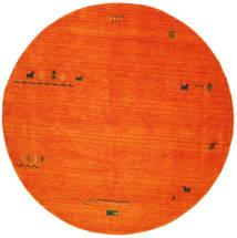 Gabbeh Indiai - Narancssárga Szőnyeg Ø 200 Modern Kerek Piros/Rozsdaszín/Bézs/Krém (Gyapjú, India)