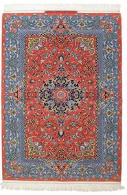Isfahan Selyemfonal Aláírás: Haghighi Szőnyeg 150X220 Keleti Csomózású Sötétszürke/Sötétpiros (Gyapjú/Selyem, Perzsia/Irán)