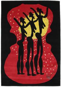 Dance Szőnyeg 135X190 Modern Csomózású Fekete/Piros (Gyapjú, India)