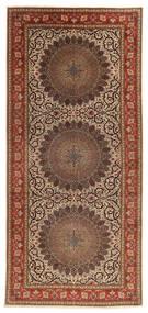 Tabriz 60 Raj Selyemfonal Szőnyeg 200X450 Keleti Csomózású Barna/Sötétbarna (Gyapjú/Selyem, Perzsia/Irán)