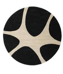 Stones Handtufted - Fekete Szőnyeg Ø 225 Modern Kerek Fekete/Világosszürke (Gyapjú, India)