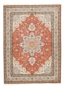 Tabriz 50 Raj Szőnyeg 150X208 Keleti Csomózású Világosszürke/Barna (Gyapjú/Selyem, Perzsia/Irán)