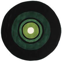 Schallplatte Handtufted Szőnyeg Ø 150 Modern Kerek Sötétzöld (Gyapjú, India)