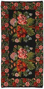Kilim Rose Szőnyeg 158X315 Keleti Kézi Szövésű Fekete/Sötétzöld (Gyapjú, Moldova)