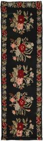 Kilim Rose Szőnyeg 146X537 Keleti Kézi Szövésű Fekete/Világosbarna (Gyapjú, Moldova)