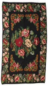 Kilim Rose Moldavia Szőnyeg 176X338 Keleti Kézi Szövésű Fekete/Sötétzöld (Gyapjú, Moldova)