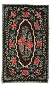 Kilim Rose Moldavia Szőnyeg 154X258 Keleti Kézi Szövésű Sötétbarna/Sötétszürke (Gyapjú, Moldova)