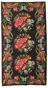 Kilim Rose Moldavia Szőnyeg 180X327 Keleti Kézi Szövésű Fekete/Sötétzöld (Gyapjú, Moldova)