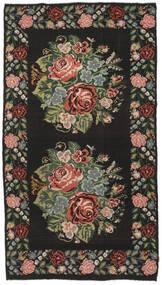 Kilim Rose Moldavia Szőnyeg 194X364 Keleti Kézi Szövésű Fekete/Sötétbarna (Gyapjú, Moldova)