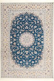 Nain 6La Habibian Szőnyeg 204X304 Keleti Csomózású Világosszürke/Bézs/Krém (Gyapjú/Selyem, Perzsia/Irán)