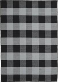 Check Kilim Szőnyeg 240X340 Modern Kézi Szövésű Fekete/Világoskék (Gyapjú, India)