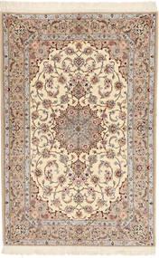 Isfahan Selyemfonal Davudi Szőnyeg 130X202 Keleti Csomózású Bézs/Világosszürke (Gyapjú/Selyem, Perzsia/Irán)