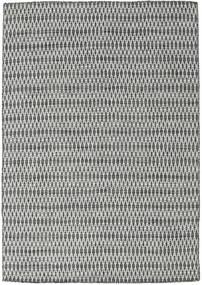 Kilim Long Stitch - Fekete/Szürke Szőnyeg 160X230 Modern Kézi Szövésű Világosszürke/Sötétszürke (Gyapjú, India)