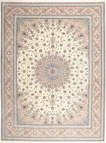 Isfahan Selyemfonal Szőnyeg 315X420 Keleti Csomózású Világosszürke/Bézs Nagy (Gyapjú/Selyem, Perzsia/Irán)