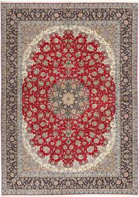 Isfahan Selyemfonal Szőnyeg 300X417 Keleti Csomózású Világosszürke/Sötétpiros Nagy (Gyapjú/Selyem, Perzsia/Irán)
