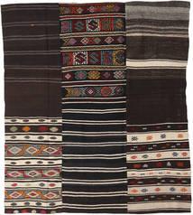 Kilim Patchwork Szőnyeg 198X230 Modern Kézi Szövésű Sötétbarna/Világosszürke (Gyapjú, Törökország)