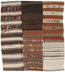 Kilim Patchwork Szőnyeg 217X237 Modern Kézi Szövésű Szögletes Sötétbarna/Világosszürke (Gyapjú, Törökország)