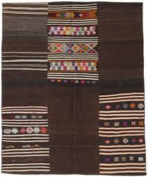Kilim Patchwork Szőnyeg 188X229 Modern Kézi Szövésű Sötétbarna (Gyapjú, Törökország)