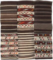 Kilim Patchwork Szőnyeg 192X220 Modern Kézi Szövésű Sötétbarna/Bézs (Gyapjú, Törökország)