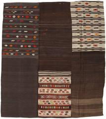Kilim Patchwork Szőnyeg 204X227 Modern Kézi Szövésű Sötétbarna/Világosszürke (Gyapjú, Törökország)