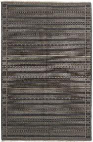 Kilim Szőnyeg 155X236 Keleti Kézi Szövésű Sötétszürke/Fekete/Világosszürke (Gyapjú, Perzsia/Irán)