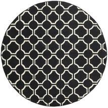 London - Fekete/Off White Szőnyeg Ø 225 Modern Kézi Szövésű Kerek Fekete (Gyapjú, India)