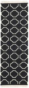 London - Fekete/Off White Szőnyeg 80X250 Modern Kézi Szövésű Fekete/Bézs (Gyapjú, India)