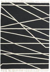 Cross Lines - Fekete/Off White Szőnyeg 160X230 Modern Kézi Szövésű Sötétszürke/Bézs (Gyapjú, India)