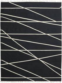 Cross Lines - Fekete/Off White Szőnyeg 250X350 Modern Kézi Szövésű Fekete Nagy (Gyapjú, India)