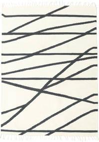 Cross Lines - Off White/Fekete Szőnyeg 160X230 Modern Kézi Szövésű Bézs/Sötétszürke (Gyapjú, India)
