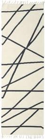 Cross Lines - Off White/Fekete Szőnyeg 80X350 Modern Kézi Szövésű Bézs/Sötétszürke (Gyapjú, India)