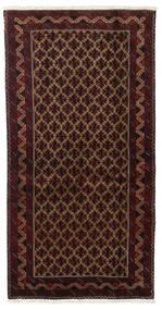 Balouch Szőnyeg 96X188 Keleti Csomózású Sötétpiros/Sötétbarna (Gyapjú, Perzsia/Irán)