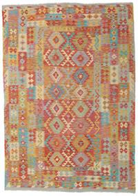 Kilim Afgán Old Style Szőnyeg 204X291 Keleti Kézi Szövésű Világosbarna/Sötét Bézs (Gyapjú, Afganisztán)