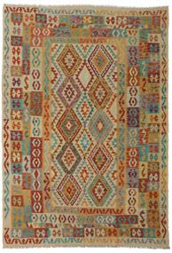 Kilim Afgán Old Style Szőnyeg 206X295 Keleti Kézi Szövésű Sötétpiros/Világosbarna (Gyapjú, Afganisztán)