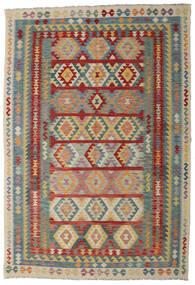 Kilim Afgán Old Style Szőnyeg 200X296 Keleti Kézi Szövésű Sötétpiros/Világosszürke (Gyapjú, Afganisztán)