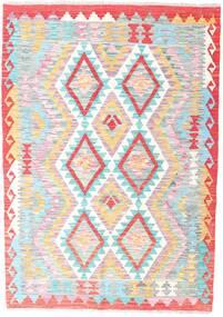 Kilim Afgán Old Style Szőnyeg 126X179 Keleti Kézi Szövésű Világos Rózsaszín/Világosszürke (Gyapjú, Afganisztán)