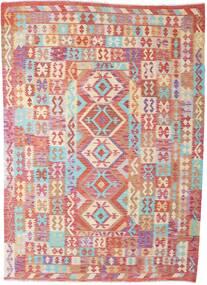 Kilim Afgán Old Style Szőnyeg 212X295 Keleti Kézi Szövésű Bézs/Sötétpiros (Gyapjú, Afganisztán)