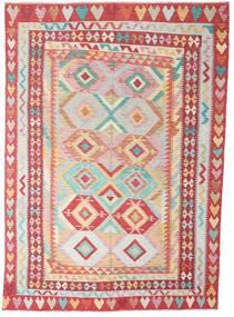 Kilim Afgán Old Style Szőnyeg 204X287 Keleti Kézi Szövésű Rozsdaszín/Bézs/Világos Rózsaszín (Gyapjú, Afganisztán)