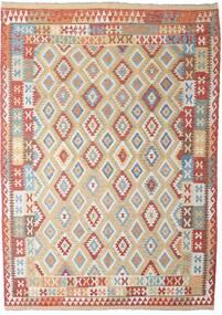 Kilim Afgán Old Style Szőnyeg 206X294 Keleti Kézi Szövésű Világosszürke/Sötétpiros (Gyapjú, Afganisztán)