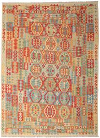 Kilim Afgán Old Style Szőnyeg 250X346 Keleti Kézi Szövésű Sötét Bézs/Világoszöld Nagy (Gyapjú, Afganisztán)