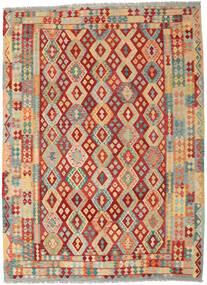 Kilim Afgán Old Style Szőnyeg 252X344 Keleti Kézi Szövésű Sötét Bézs/Rozsdaszín Nagy (Gyapjú, Afganisztán)