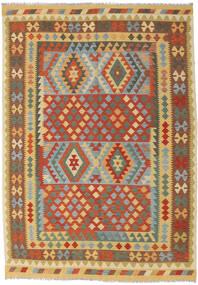 Kilim Afgán Old Style Szőnyeg 202X287 Keleti Kézi Szövésű Sötét Bézs/Piros (Gyapjú, Afganisztán)