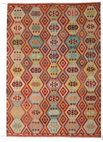 Kilim Afgán Old Style Szőnyeg 246X348 Keleti Kézi Szövésű Sötétpiros/Világoszöld (Gyapjú, Afganisztán)